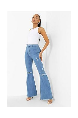 Boohoo High Waist Ripped Stretch Flare Jeans