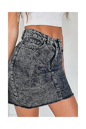 Boohoo Raw Hem Denim Mini Skirt