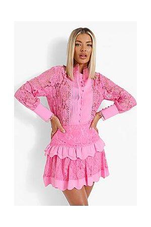 Boohoo Lace Pep Hem Skirt