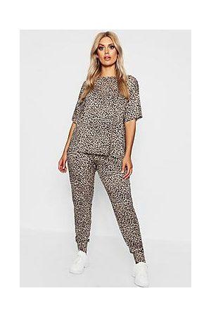 Boohoo Plus Leopard Loungewear Set