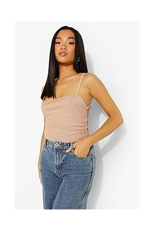 Boohoo Petite Double Layer Mesh Square Ruched Body