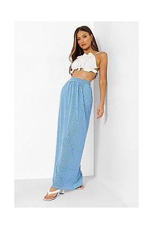 Boohoo Gingham Pocket Jersey Maxi Skirt