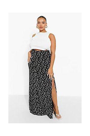 Boohoo Plus Ditsy Floral Button Through Maxi Skirt