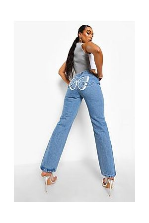 Boohoo Straight Leg Jeans With Butterfly Back Print