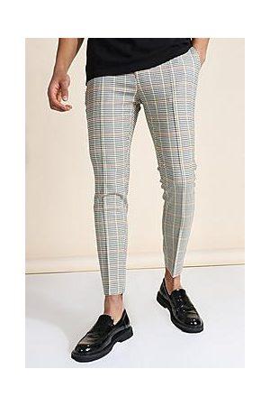 Boohoo Super Skinny Check Pintuck Tailored Trouser