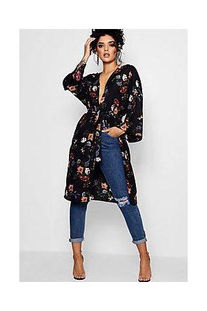 Boohoo Floral Tie Waist Kimono
