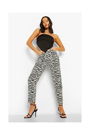 Boohoo High Waist Zebra Print Mom Jeans