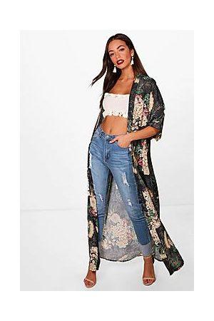 Boohoo Floral Print Maxi Kimono
