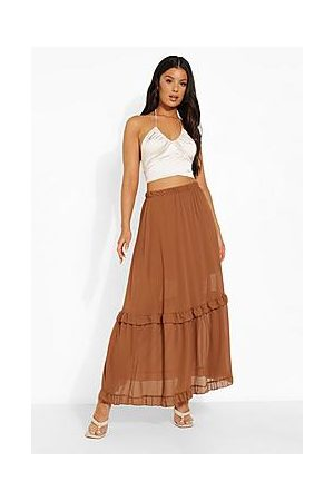 Boohoo Chiffon Ruffle Maxi Skirt