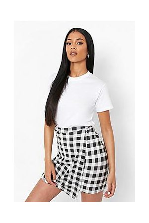 Boohoo Tall Gingham Wrap Mini Skirt