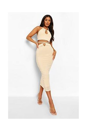 Boohoo Double Layer Slinky Crop And Cut Out Midi