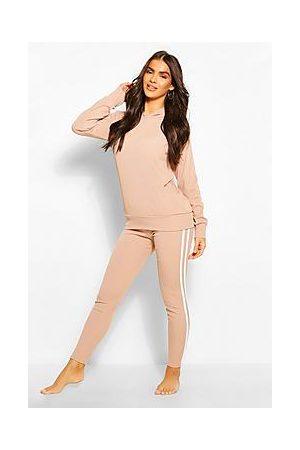 Boohoo Rib Side Stripe Hooded Loungewear Set