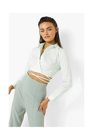 Boohoo Woven Wrap Crop Shirt