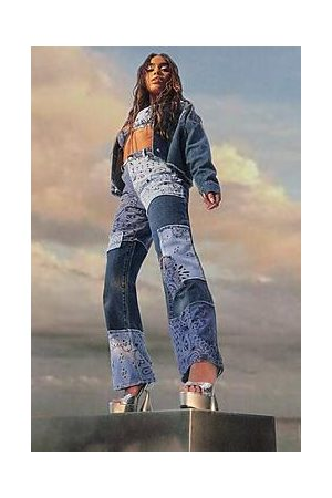 Boohoo Patchwork Boyfriend Jeans With Bandana Print