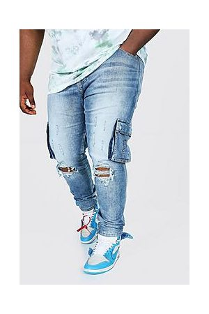 Boohoo Plus Size Skinny Cargo Jean With Ripped Knee
