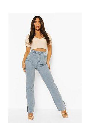Boohoo Washed Split Hem Straight Leg Jeans