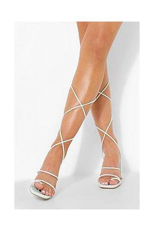 Boohoo Block Heel Neon Wrap Up Sandal