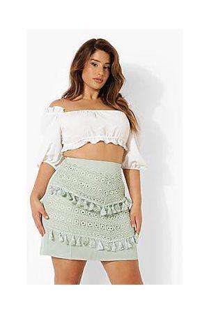 Boohoo Plus Lace Tassel Trim Mini Skirt