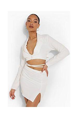 Boohoo Tie Waist Cropped Blazer And Mini Skirt