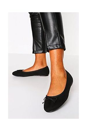 Boohoo Wide Fit Faux Suede Round Toe Ballet Flats