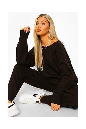 Boohoo Tall Slash Neck Knitted Loungewear Set