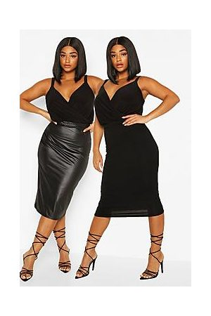 Boohoo Plus 2 Pack Leather Look and Jersey Midi Skirt