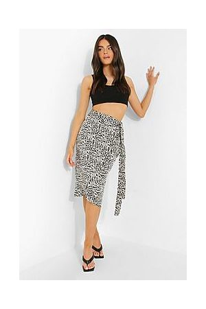 Boohoo Leopard Satin Wrap Midi Skirt