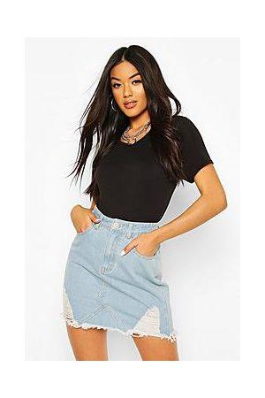 Boohoo High Waist Distressed Denim Skirt
