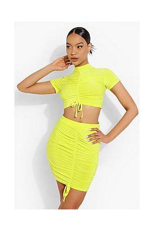 Boohoo Ruched Crop & Skirt Set