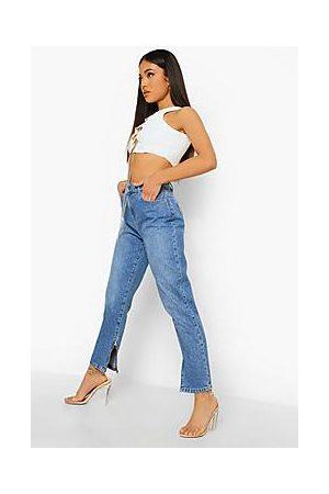 Boohoo Petite Zip Hem Mom Jeans