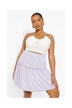 Boohoo Plus Polka Dot Mini Skater Skirt