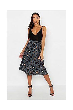Boohoo Pleated Leopard Print Midi Skirt