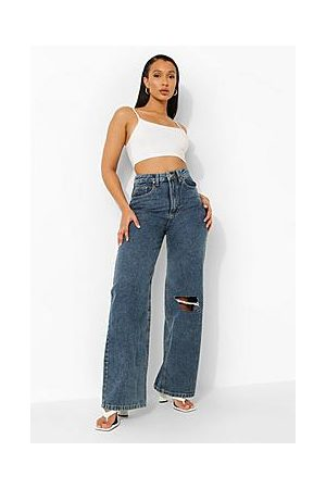Boohoo Washed Distressed Knee Dad Jeans