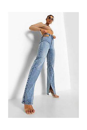 Boohoo Cut Out Split Leg Jeans