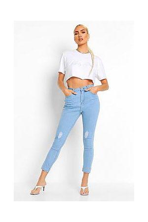 Boohoo High Waisted Distressed Skinny Jeans