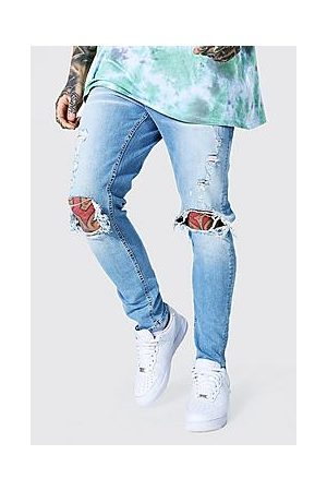 Boohoo Skinny Stretch Busted Knee Distressed Jean
