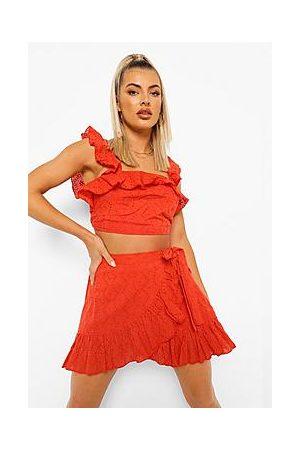 Boohoo Broderie Ruffle Detail Top & Skirt