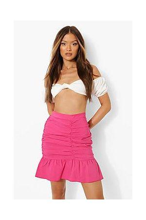 Boohoo Ruched Woven Ruffle Mini Skirt