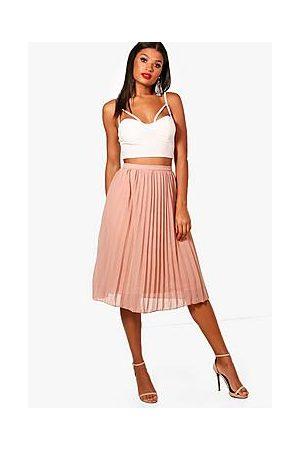 Boohoo Chiffon Pleated Midi Skirt