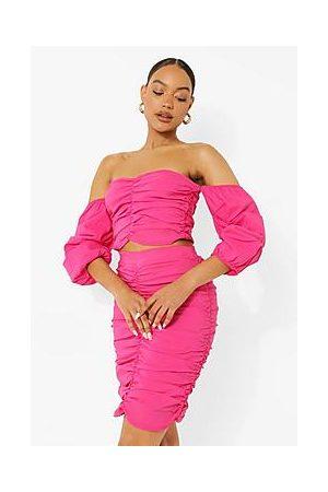 Boohoo Bardot Ruched Crop & Skirt Set