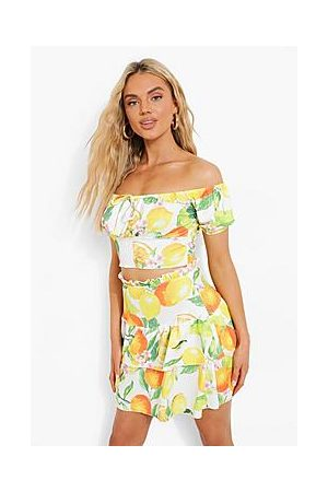 Boohoo Citrus Print Frill Skirt