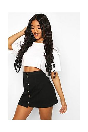 Boohoo Button Through Denim A Line Skirt