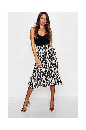 Boohoo Satin Leopard Ruffle Wrap Midi Skirt