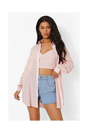Boohoo Broderie Shirt And Bralet Set