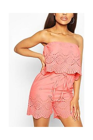Boohoo Broderie Lace Bardot Overlayer Playsuit