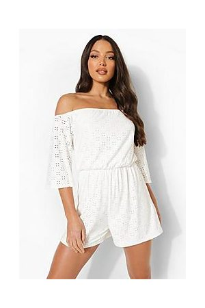 Boohoo Tall Broderie Off The Shoulder Playsuit