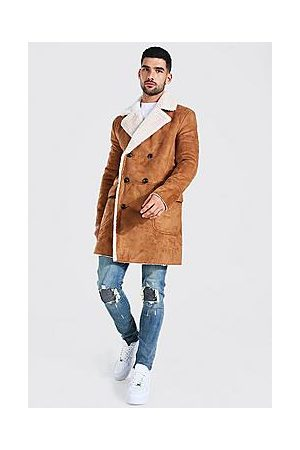 Boohoo Faux Suede Borg Lined Overcoat