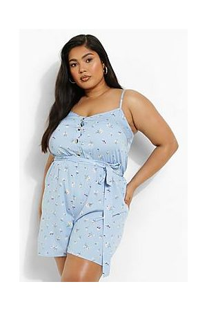 Boohoo Plus Ditsy Floral Strappy Belted Playsuit