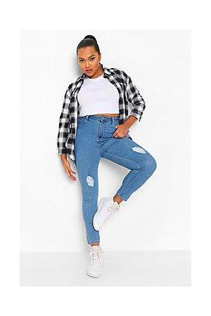 Boohoo Plus High Waist Distressed Skinny Jeans