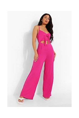 Boohoo Strappy Tie Bust Cut Out Wide Leg Jumpsuit